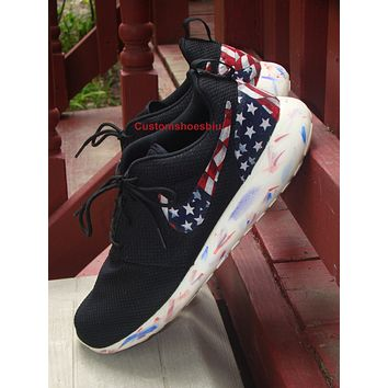 official photos 966d5 809c4 Custom American Flag Marble Sole Roshes