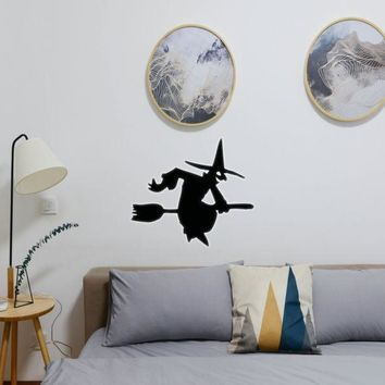 Halloween Witch Riding Broom 05 Vinyl Wall Decal - Removable (Indoor)