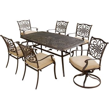 "Traditions7pc: 4 Dining Chairs, 2 Swivel Rockers, 38x72"" Cast Table - Tan/Cast"