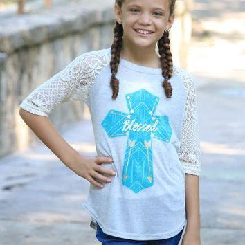 Girls Blessed Turquoise Cross on Grey Raglan with Cream Lace Sleeves