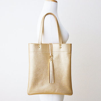 Metallic Gold Leather Tote with Tassel, Everyday Shoulder Bag, Minimal Leather Tote, Leather Shopper Tote