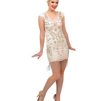 1920s Style Nude & Pink Iridescent Hand Beaded Millie Fringe Flapper Dress