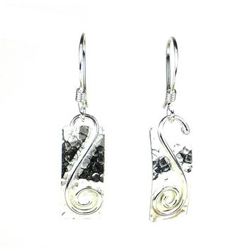 Silver Rectangle Earrings with Swirl - Artisana