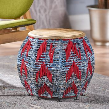 Renare Multi Colored Cotton End Table with Natural Finished Mango Wood Top