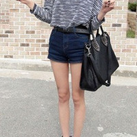 Plain Mid Waist Zip Fly Denim Hotpant Shorts