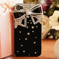 Cute Black 3D Bow Bling Crystals Diamonds Rhinestones Hard Case For Mobile Phone