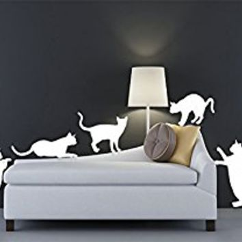 Wall Decal Vinyl Sticker Decals Art Decor Design Set 9 Funny Cats Kitten Pets Animals Kids Play Children Nursery Bedroom Dorm (r356)