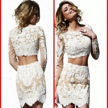 White Lace Long Sleeve Two Piece Short Homecoming Dresses with Elegant Cocktail