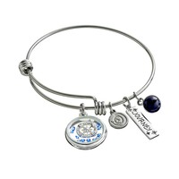 love this life Crystal & Sodalite Stainless Steel ''Journey'' Charm Bangle Bracelet (White)
