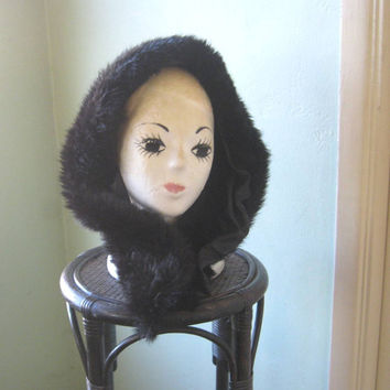 Luxe Vintage Faux Fur Head/Neck Wrap - Brown/Black Faux Fur Neck Warmer - Upscale Dark Faux Fur Scarf - Giftable Fur Neck Wrap