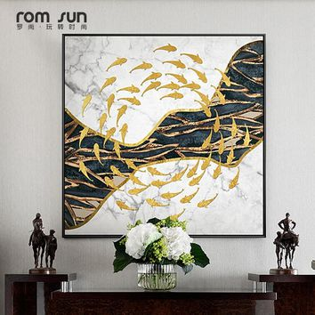 Abstract  Black and White Golden Fish River Creative Canvas Painting Wall Art For Living Room Dining Room Home Decor ChineseHD