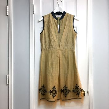 Ritu Kumar women's mandarin Collar tan linen Midi Dress sz 2