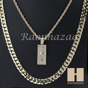 "ICED OUT 100 Dollar ROPE CHAIN DIAMOND CUT 30"" CUBAN LINK CHAIN NECKLACE SS06G"