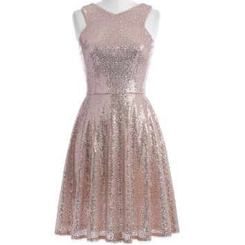Rose Gold Sequins Cocktail Dresses Knee Length Women Casual Party Short Dresses Cocktail Prom Gowns