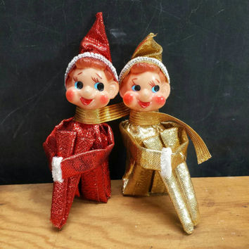 Knee Hugger Elf Pixies Small Metallic Red Gold Lame Pair Mini Elves Vintage Christmas Tree Ornaments Decorations Retro Kitsch Holiday Decor