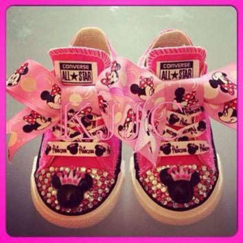 CREYON minnie mouse childrens converse silver swarovski diamonte diamante or any other colo
