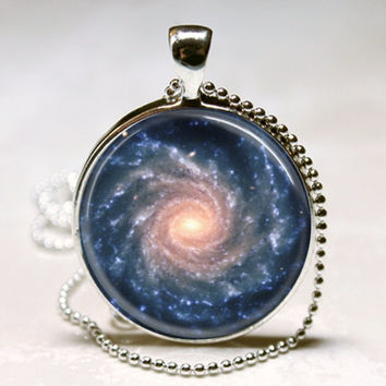 Spiral Galaxy Necklace Outer Space Milky Way Astronomy Nebula Art Pendant with Ball Chain Included (ITEM B089)