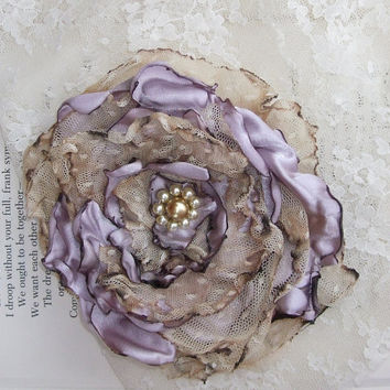 Tea Stained Lavender Flower Accessory Hair Clip by OurPlaceToNest