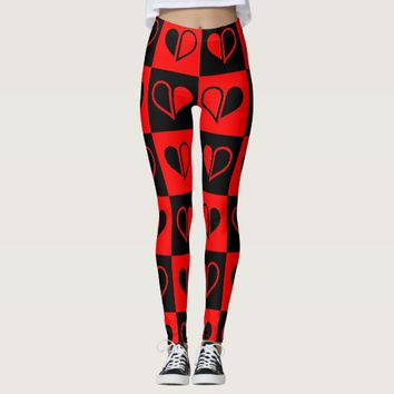 Checker heart print legging