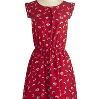 ModCloth Mid-length Cap Sleeves A-line A Dance, by Chance? Dress