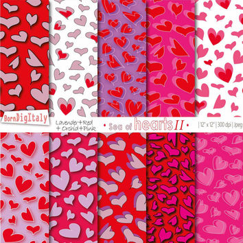 Hearts Digital Paper Valentine Day Paper Heart Scrapbook Heart Background Love Paper Digital Valentine Paper_ Personal+Commercial Use
