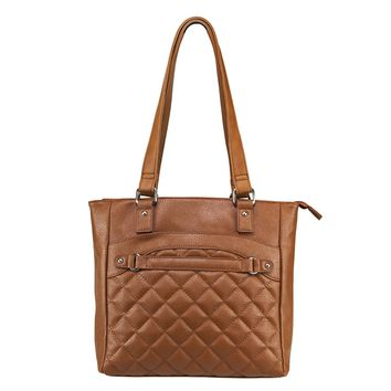 Quilted Tote Includes a Universal Holster & Quilted Front Pocket - Brown