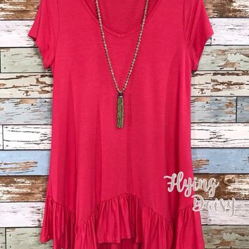 Everyday Coral Ruffle Tunic