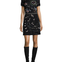 Valentino Cosmo Embroidered Short-Sleeve Dress, Black/Multi