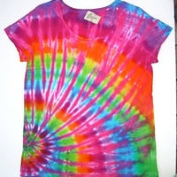 Tie Dye Shirt/ Women's XL Scoop Neck/ Pink Rainbow Offset Spiral