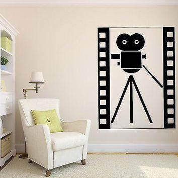 Wall Vinyl Sticker Decal Abstract Vintage Movie Film Camera Symbol Hollywood Unique Gift (n041)