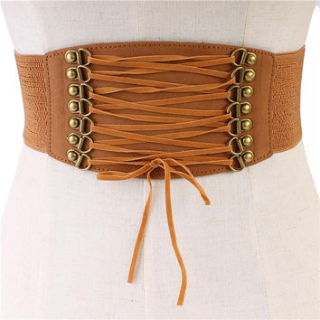 "25"" faux suede corset lace tie boho stretch belt"