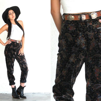 Vintage 90s GUESS High Waist Paisley Velvet BOYFRIEND Pants // Floral Jeans // Boho Gypsy Hipster Grunge // XS Extra Small / Small / 26""