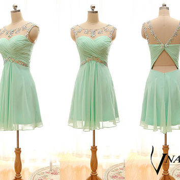 Design Cap Sleeve A Line Elegant Sexy Short Crystal Mint Green Prom Dress 2015, Mint Green Dress, Short Prom Dress, Crystal Short Dress