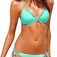 AllPL Womens Bikini fashion Padded Halter Neck top and strings bottom swimsuit 2 Piece Tankini