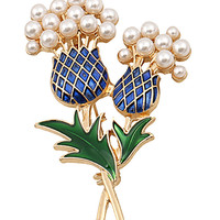 Blue and Green Floral Pearl Brooch