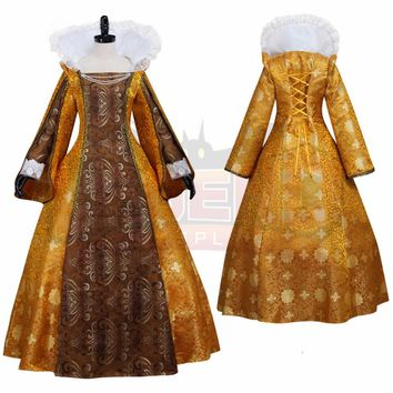 Women's Gold Medieval Renaissance Victorian Dress Costume Queen Cosplay