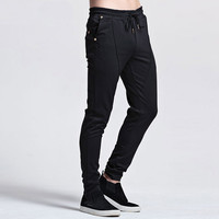 Solid Color Drawstring Elastic Waist Pants