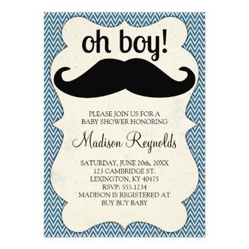 OH BOY! Blue Chevron and Mustache baby Shower 5x7 Paper Invitation Card