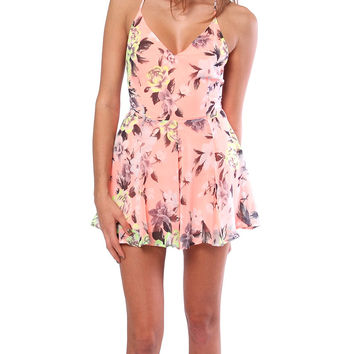 Summer Of Flower Romper - Orange Floral