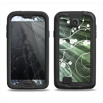 The Grunge Green Rays of Light with Glowing Vine Samsung Galaxy S4 LifeProof Nuud Case Skin Set