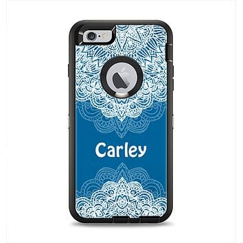 The Intricate Blue & White Snowflake Name Script Apple iPhone 6 Plus Otterbox Defender Case Skin Set