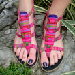 Isadora Womens Gladiator Sandals In Bright Striped Hmong Embroidery