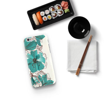 Turquoise Floral Phone Case for iPhone 6,4,5, Galaxy S4, S5 , Note , Nexus 5 6 , Lg G2 G3, Moto G X , HTC - One of a Kind Gift