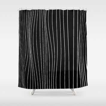 Strings, white lines on black pattern Shower Curtain by Peter Reiss
