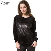 New Tops Women O-neck Long Sleeve T shirt Casual Sequined t shirts cotton woman  New Womens Winter Warm Thick T-shirt
