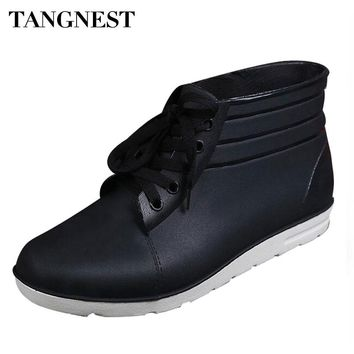 Tangnest 2017 New Men Rain Boots Spring Autumn Lace-up Waterproof Ankle Boots For Men  Slip-on Rubber Shoes Size 40~45 XMX518