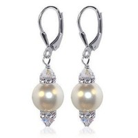 "Amazon.com: SCER155 Sterling Silver Leverback 1.5"" Long Drop Earrings Made with Swarovski Elements 10mm White Faux Pearl and Crystal: Jewelry"