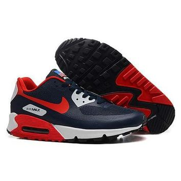 Men s Women s Nike Air Max 90 American Flag Navy Red Shoes