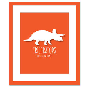 Triceratops Dinosaur Art Print Poster - Nursery Bedroom - Dinosaur Birthday - Animal Poster for Children - Dinosaur Party - Kids Wall Art