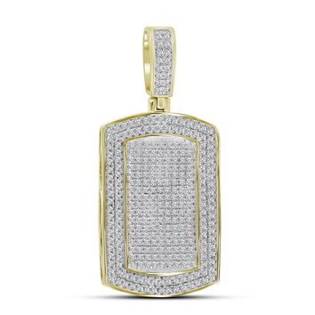 10kt Yellow Gold Mens Round Diamond Dog Tag Charm Pendant 7/8 Cttw